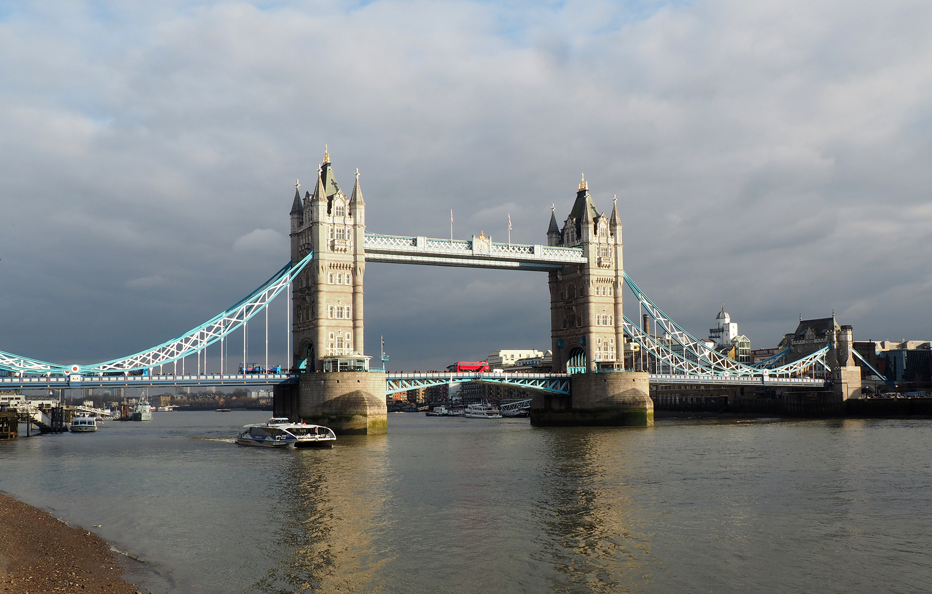 The iconic Tower Bridge across the Thames