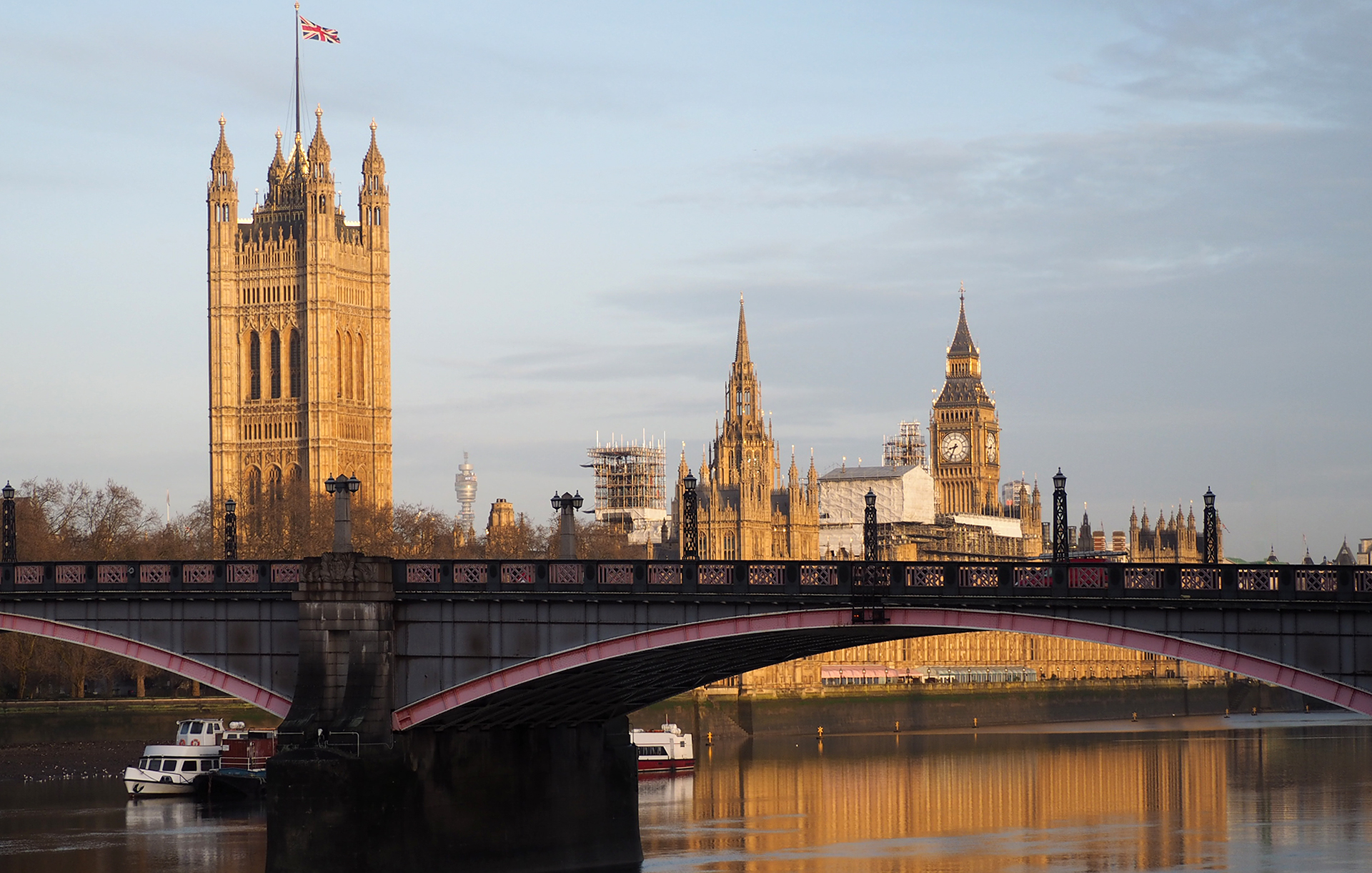 Morning view of Lambeth Bridge and the Parliament