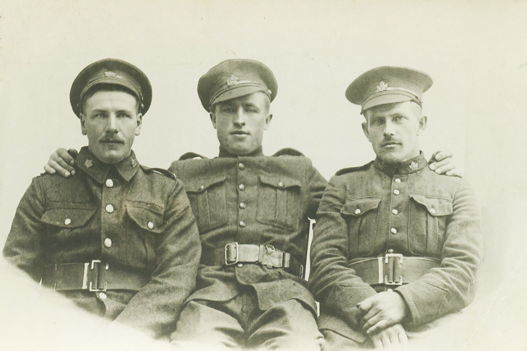 Left to right, my Great Great Uncle Jorgen Groseth, Charly Brown, Erick Groseth (cousin of Jorgen). Members of the 232nd CEF, 15th Battalion, 5th Battalion