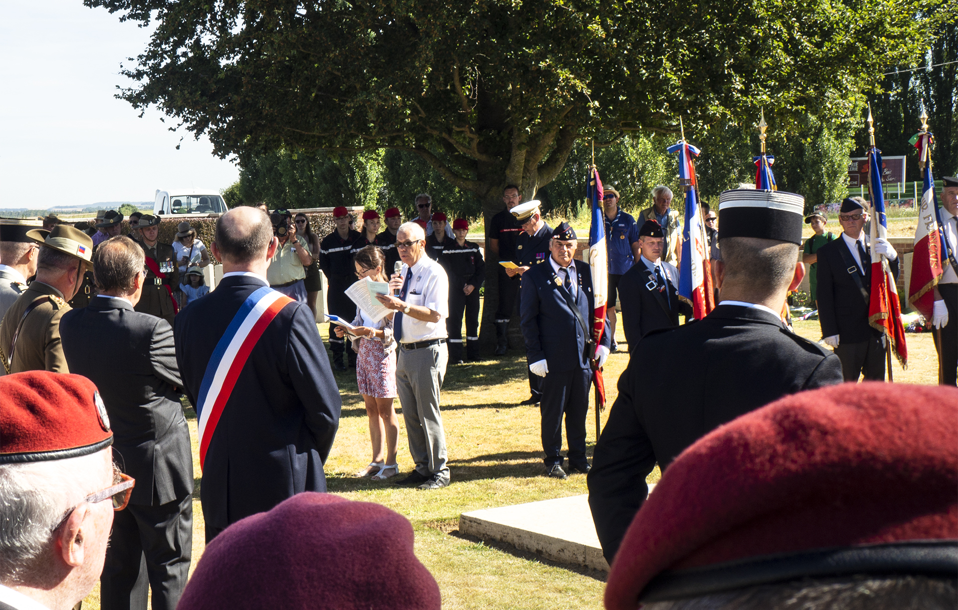 The ceremonies begin at Heath Cemetery in Harbonnières, France with representatives from Australia, Britain, Canada and France.