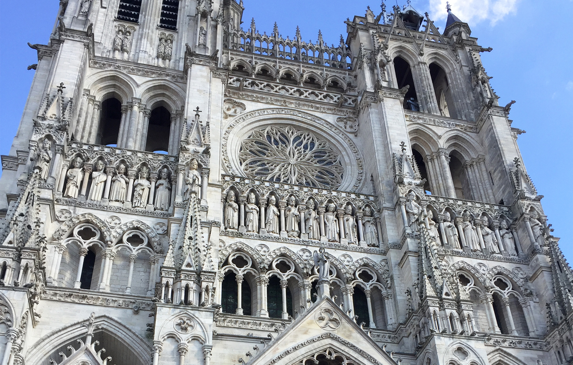 The cathedral in Amiens was built between 1220 and 1270 is a magnificient example of Gothic architecture. It also goes by the names Notre-Dame d'Amiens or the Cathedral of Notre-Dame of Amiens. Amiens is located 120 kms north of Paris