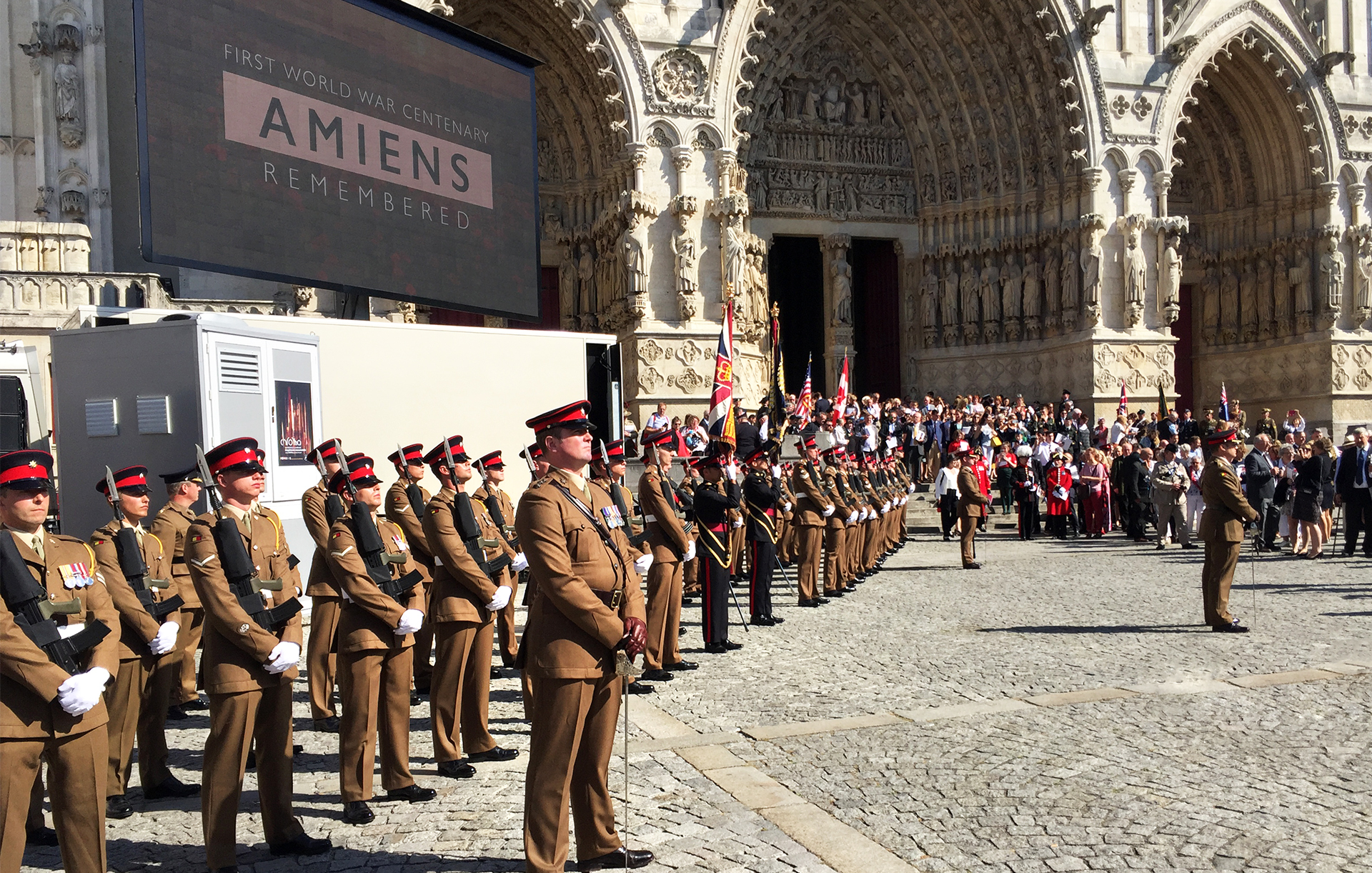 First World War, the battle of Amiens is remembered 100 years later. Attended by Prince William and British Prime Minister Theresa May.