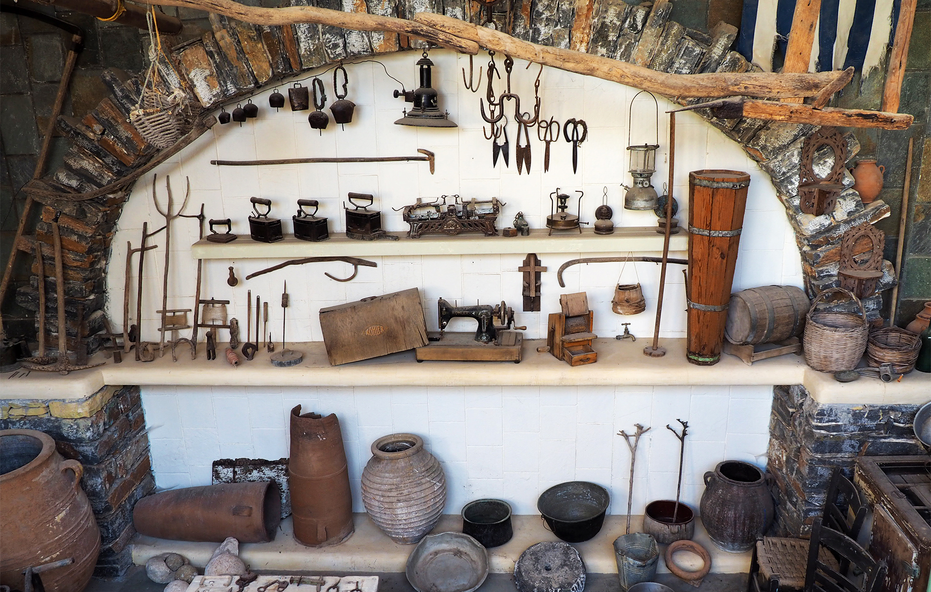 Find and visit the tiny museum of Koufonisia, household and farming implements of a bygone era