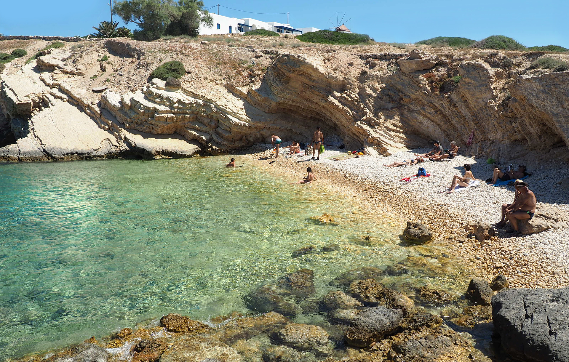 Greek Island destination - Koufonisia, so many beaches to discover below the cliff overhangs