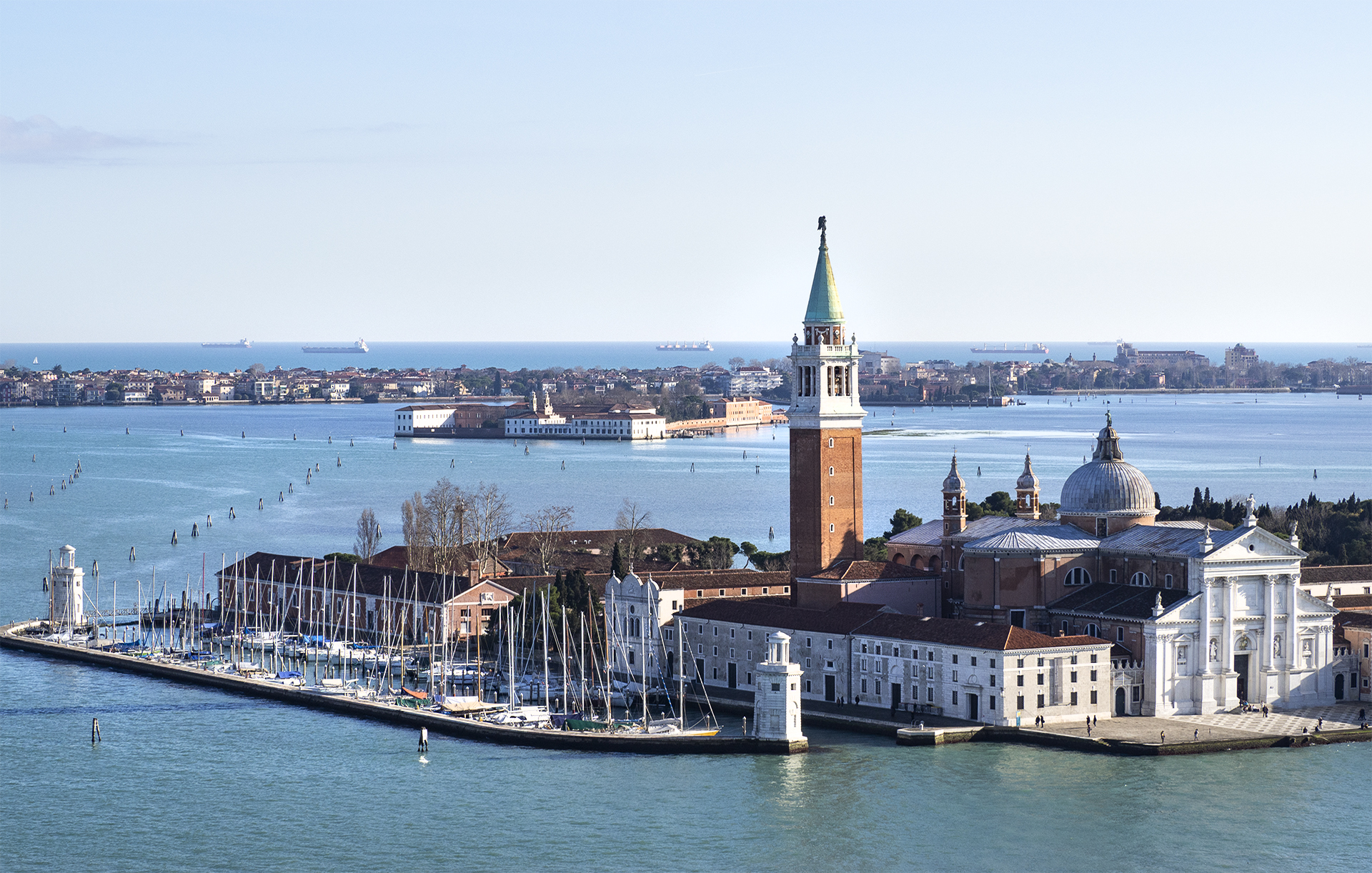 View from St. Mark's Campanile where you will see the Church of San Giorgio Maggiore and it's bell tower.