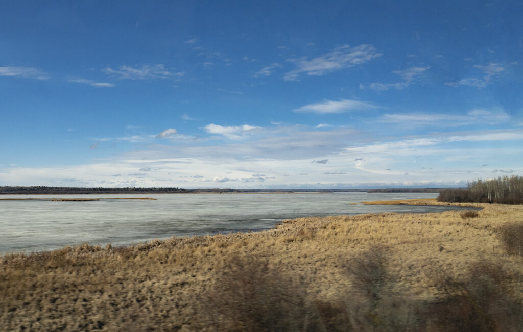 Wintertime view from the train, ice covered lake, blue sky and golden grasses alongside the water's edge